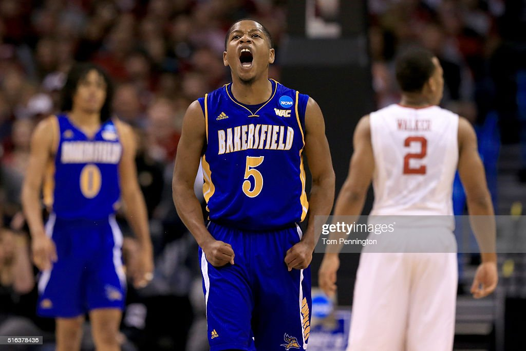 Dedrick Basile of the Cal State Bakersfield Roadrunners reacts in the first half while taking on the Oklahoma Sooners in the first round of the 2016...