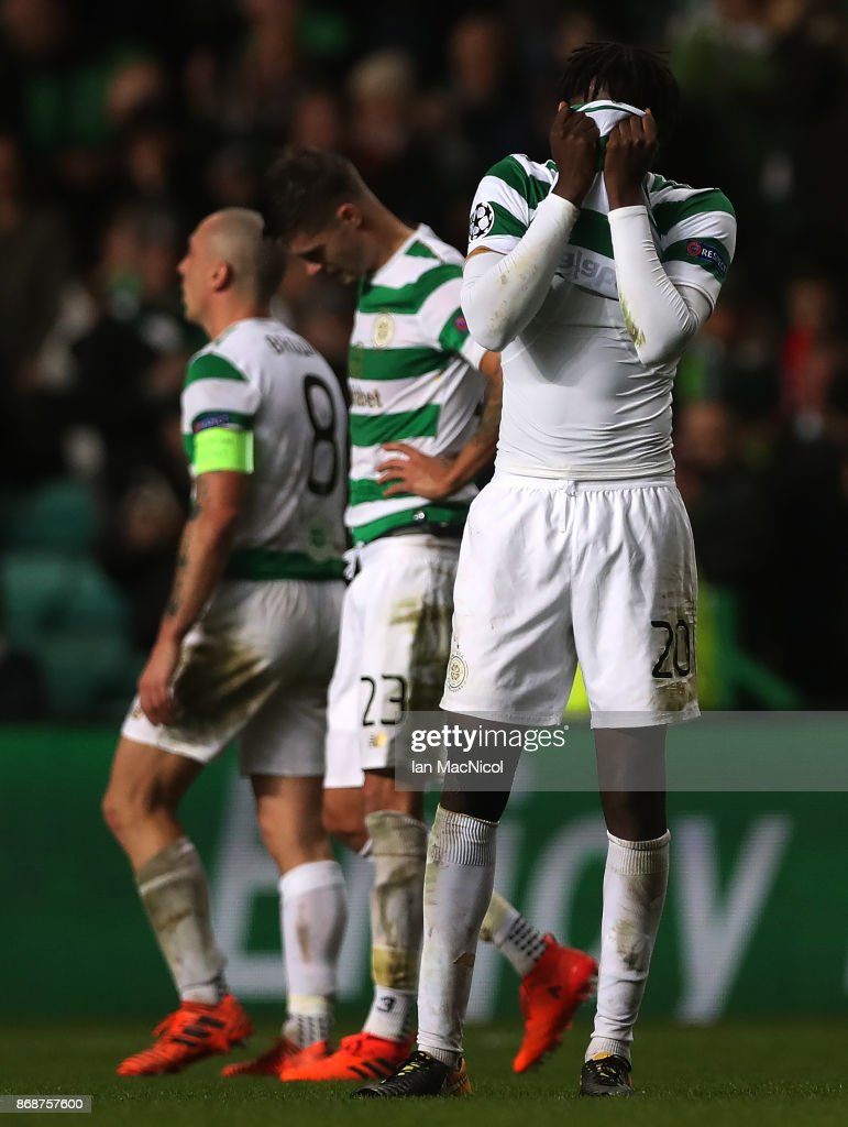 Dedryck Boyata of Celtic reacts at full time during the UEFA Champions League group B match between Celtic FC and Bayern Muenchen at Celtic Park on October 31, 2017 in Glasgow, United Kingdom.