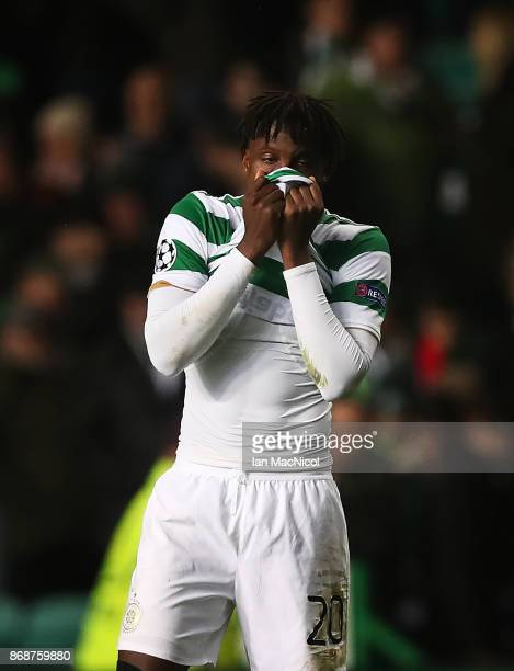 Dedryck Boyata of Celtic reacts at full time during the UEFA Champions League group B match between Celtic FC and Bayern Muenchen at Celtic Park on...
