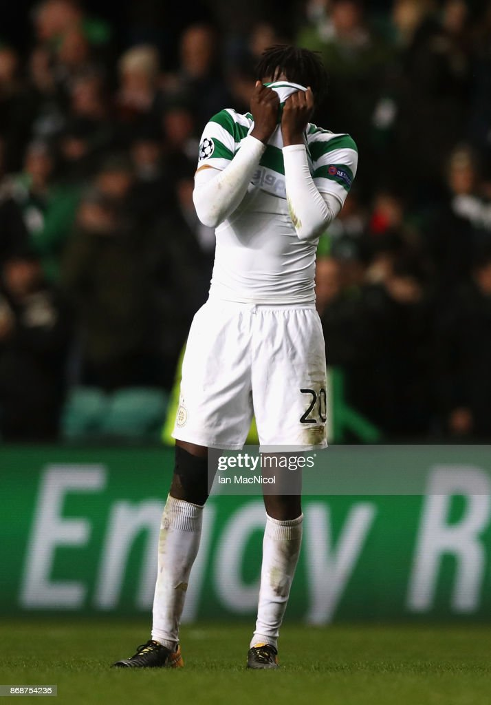 Dedryck Boyata of Celtic reacts following his side's loss following the UEFA Champions League group B match between Celtic FC and Bayern Muenchen at Celtic Park on October 31, 2017 in Glasgow, United Kingdom.