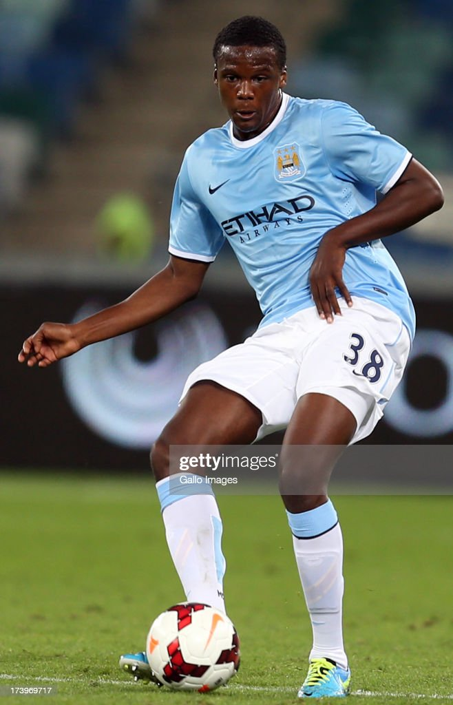 Dedryck Boyata of Manchester City during the Nelson Mandela Football Invitational match between AmaZulu and Manchester City at Moses Mabhida Stadium on July 18, 2013 in Durban, South Africa.