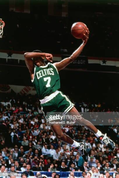 Dee Brown of the Boston Celtics goes up for slam dunk during the Slam Dunk Contest in the 1991 NBA AllStar Week on February 9 1991 at Charlotte...