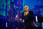 Dee Dee Bridgewater and Ben Williams perform on stage during the International Jazz Day 2015 Global Concert at UNESCO on April 30 2015 in Paris France
