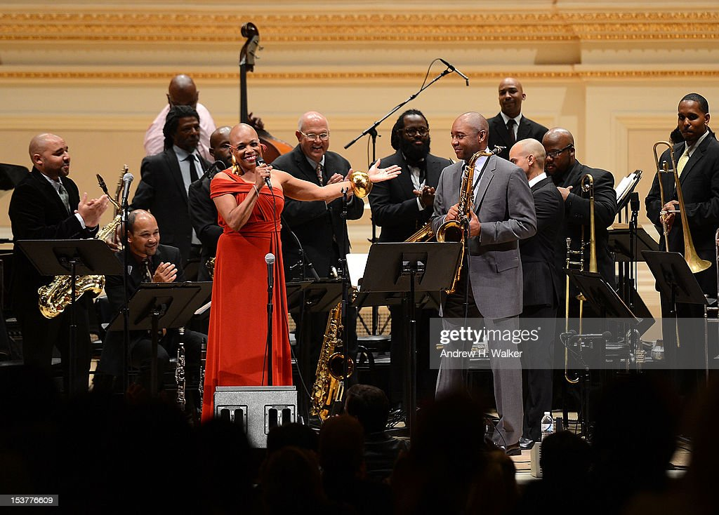 <a gi-track='captionPersonalityLinkClicked' href=/galleries/search?phrase=Dee+Dee+Bridgewater&family=editorial&specificpeople=2518501 ng-click='$event.stopPropagation()'>Dee Dee Bridgewater</a> and <a gi-track='captionPersonalityLinkClicked' href=/galleries/search?phrase=Branford+Marsalis&family=editorial&specificpeople=212811 ng-click='$event.stopPropagation()'>Branford Marsalis</a> perform with The New Orleans Jazz Orchestra at Carnegie Hall on October 8, 2012 in New York, New York.