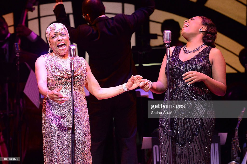 Dee Dee Bridgewater and Cecile McLorin Salvant perform during Apollo Club Harlem at The Apollo Theater on February 18, 2013 in New York City.