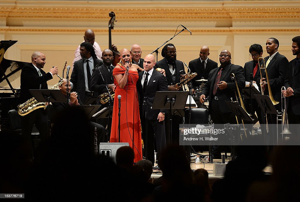 <a gi-track='captionPersonalityLinkClicked' href=/galleries/search?phrase=Dee+Dee+Bridgewater&family=editorial&specificpeople=2518501 ng-click='$event.stopPropagation()'>Dee Dee Bridgewater</a> and The New Orleans Jazz Orchestra perform at Carnegie Hall on October 8, 2012 in New York, New York.