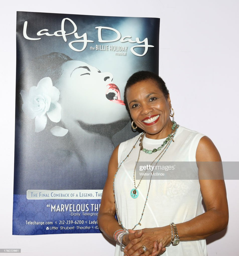 <a gi-track='captionPersonalityLinkClicked' href=/galleries/search?phrase=Dee+Dee+Bridgewater&family=editorial&specificpeople=2518501 ng-click='$event.stopPropagation()'>Dee Dee Bridgewater</a> attends the 'Lady Day' On Broadway Meet & Greet at Ripley Grier Rehearsal Studio on August 27, 2013 in New York City.