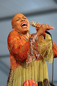 Dee Dee Bridgewater performs on stage during the New Orleans Jazz and Heritage Festival on April 28 2010 in New Orleans Louisiana The Festival runs...