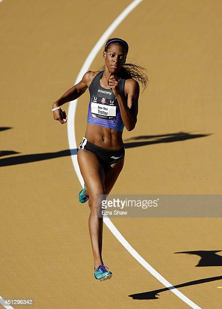 Dee Dee Trotter runs in the women's 400 meter dash preliminaries during day 2 of the USATF Outdoor Championships at Hornet Stadium on June 26 2014 in...