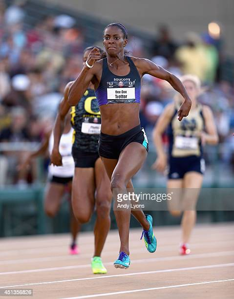 Dee Dee Trotter runs in the Women's 400 Meter semifinal on day 3 of the USATF Outdoor Championships at Hornet Stadium on June 27 2014 in Sacramento...