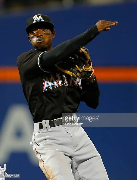 Dee Gordon of the Miami Marlins in action against the New York Mets during a game at Citi Field on September 1 2016 in the Flushing neighborhood of...
