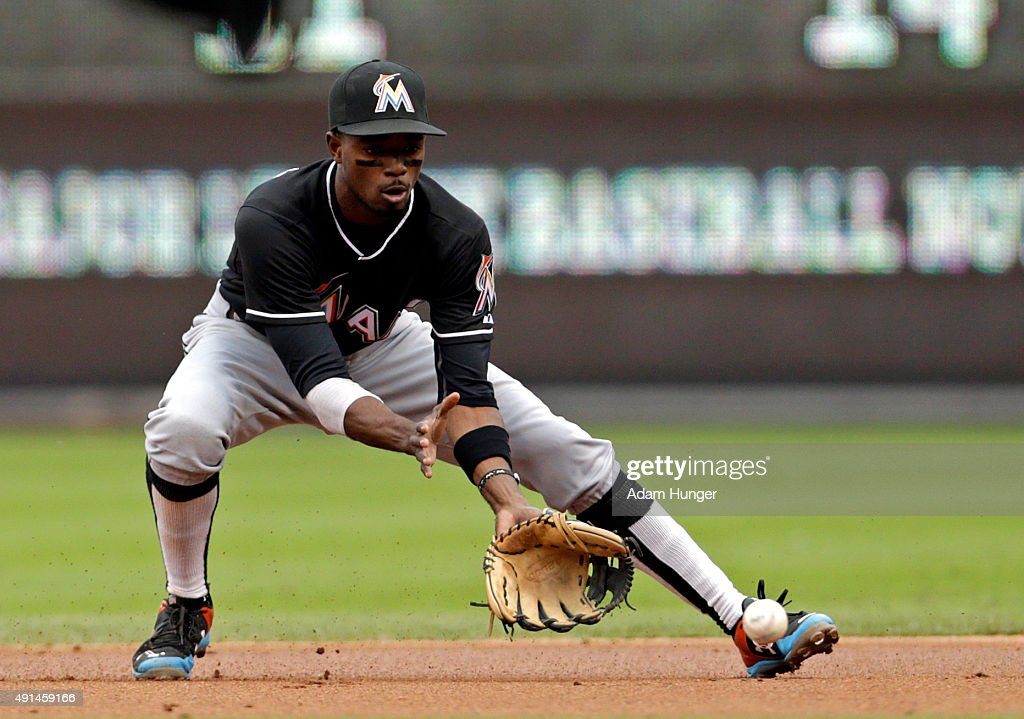 Dee Gordon of the Miami Marlins in action during an MLB game against the Philadelphia Phillies at Citizens Bank Park on October 4 2015 in...