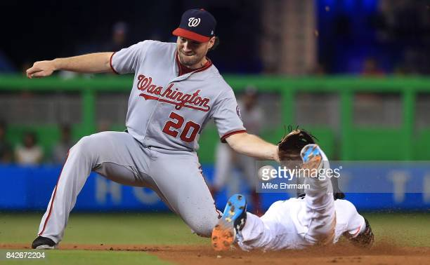 Dee Gordon of the Miami Marlins steals second as Daniel Murphy of the Washington Nationals fields the throw during a game at Marlins Park on...