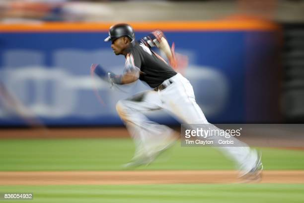 Dee Gordon of the Miami Marlins steals second base in the sixth inning during the Miami Marlins Vs New York Mets regular season MLB game at Citi...
