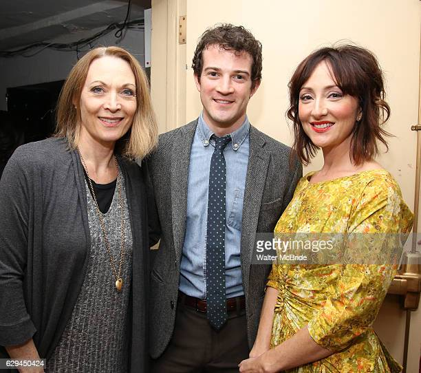 Dee Hoty AJ Shively and Carmen Cusack backstage before 'Bright Star' In Concert at Town Hall on December 12 2016 in New York City