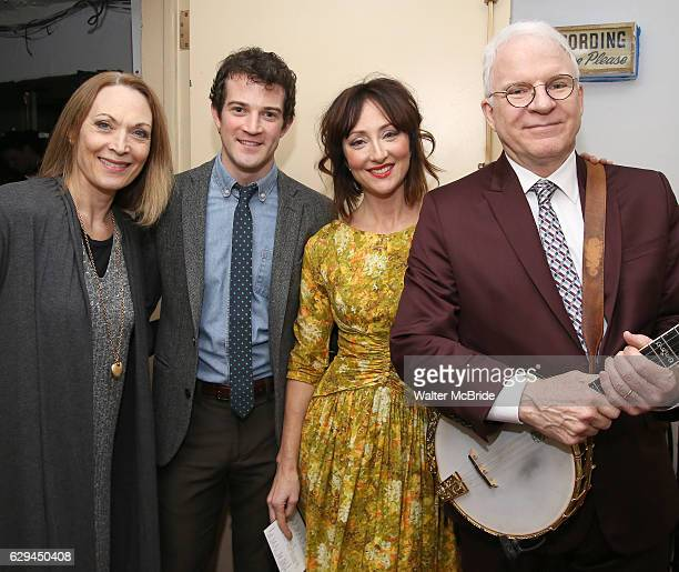 Dee Hoty AJ Shively Carmen Cusack and Steve Martin backstage before 'Bright Star' In Concert at Town Hall on December 12 2016 in New York City