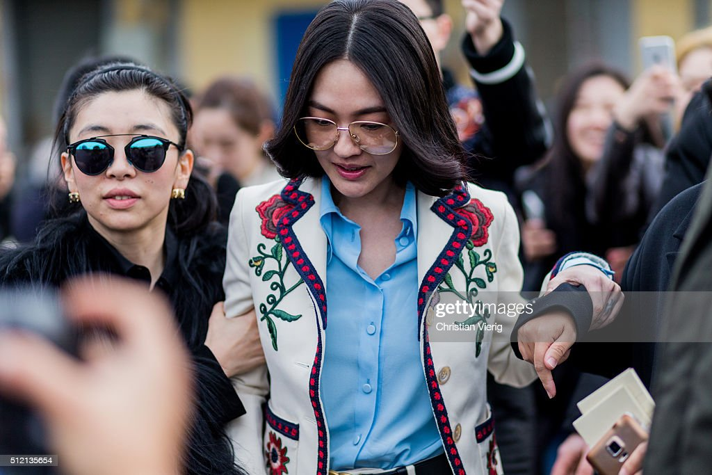 <a gi-track='captionPersonalityLinkClicked' href=/galleries/search?phrase=Dee+Hsu&family=editorial&specificpeople=4238913 ng-click='$event.stopPropagation()'>Dee Hsu</a> seen outside Gucci during Milan Fashion Week Fall/Winter 2016/17 on February 24, 2016 in Milan, Italy