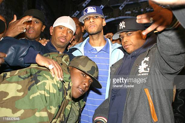 Dee Jadakiss Swizz Beatz and Styles P during Ja Rule Video Shoot in New York at Streets of Harlem in New York City New York United States