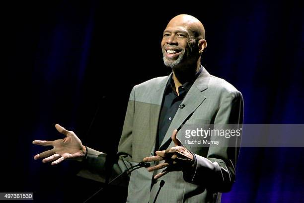 Dee Kareem AbdulJabbar speaks onstage during the Thelonious Monk Institute International Jazz Vocals Competition 2015 at Dolby Theatre on November 15...