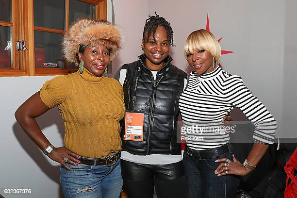 Dee Rees and Mary J Blige at the 'Mudbound' party in the Stella Artois Filmmaker Lounge during the Sundance Film Festival on January 21 2017 in Park...