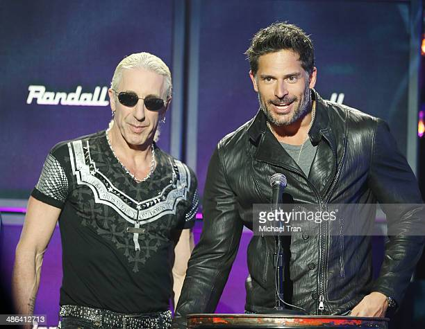 Dee Snider and actor Joe Manganiello speak onstage during the 6th Annual Revolver Golden Gods Award Show held at Club Nokia on April 23 2014 in Los...