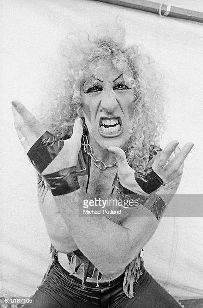 Dee Snider of American glam metal group Twisted Sister backstage at the Reading Festival 29th August 1982
