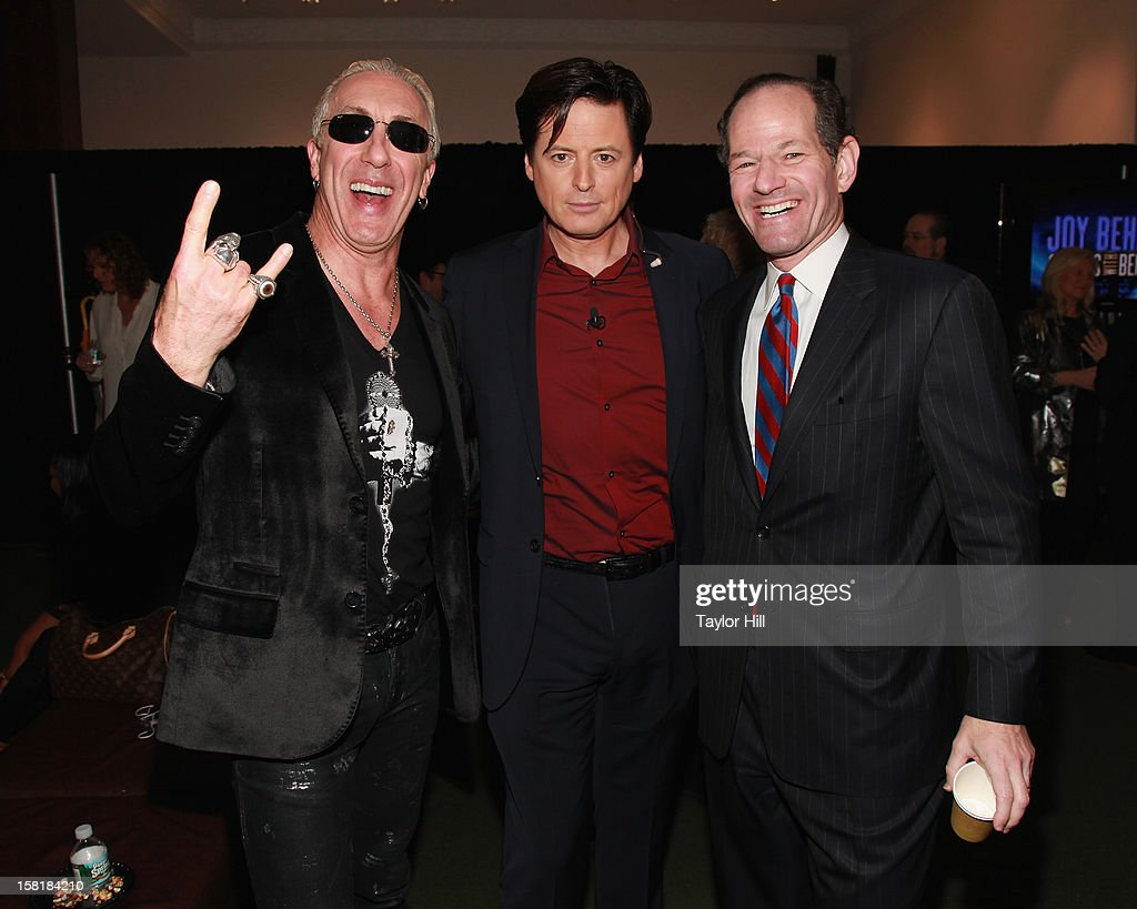 Dee Snider of Twisted Sister and current.tv personalities John Fugelsang and Eliot Spitzer attend A Special Night of Comedy benefiting victims of Hurricane Sandy at 92nd Street Y on December 10, 2012 in New York City.