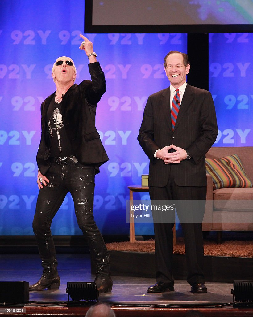Dee Snider of Twisted Sister and TV personality Eliot Spitzer perform during A Special Night of Comedy benefiting victims of Hurricane Sandy at 92nd Street Y on December 10, 2012 in New York City.