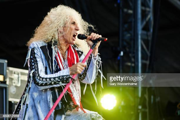 Dee Snider of Twisted Sister performs on stage during day 2 of Download Festival at Donnington Park on June 14 2014 in Donnington United Kingdom