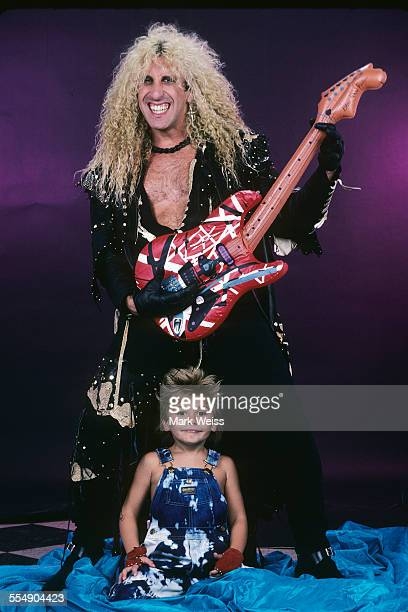 Dee Snider of Twisted Sister studio portrait with son Jesse United States 1987