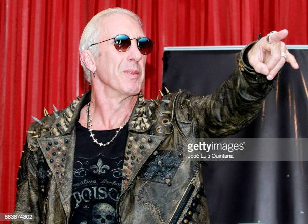 Dee Snider singer of the heavy metal band Twisted Sister greets the audience during a press conference where he announced his performance at 'Scream...