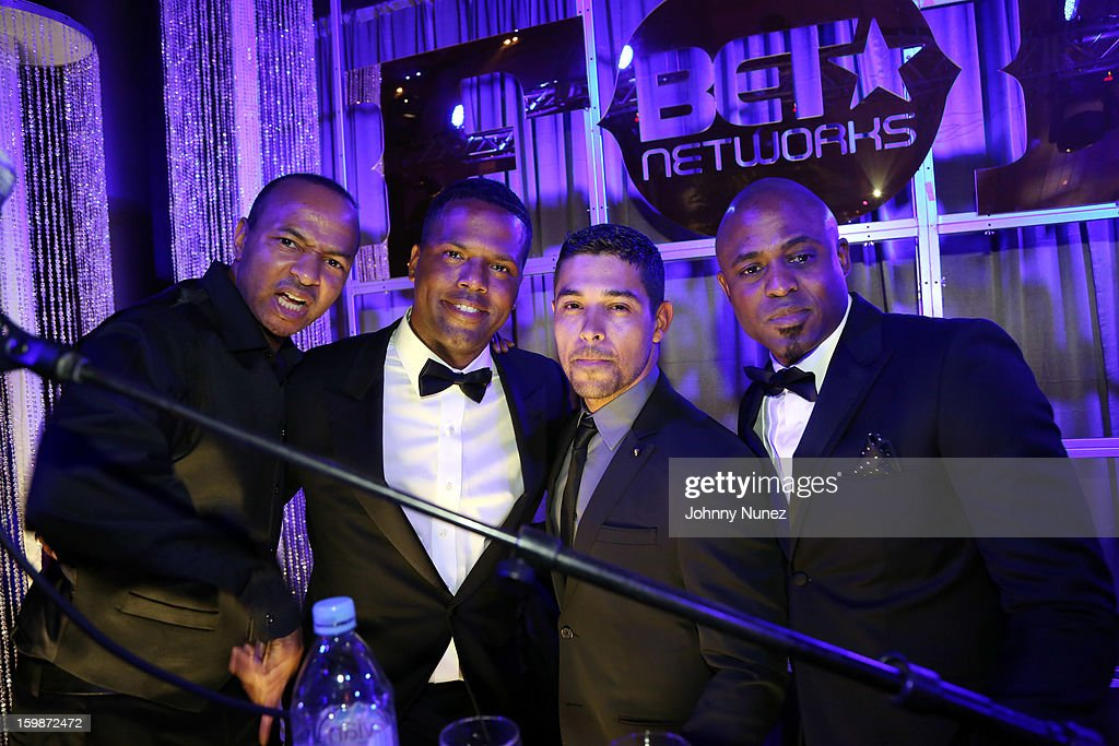 DJ Dee Wiz, AJ Calloway, <a gi-track='captionPersonalityLinkClicked' href=/galleries/search?phrase=Wilmer+Valderrama&family=editorial&specificpeople=202028 ng-click='$event.stopPropagation()'>Wilmer Valderrama</a>, and <a gi-track='captionPersonalityLinkClicked' href=/galleries/search?phrase=Wayne+Brady&family=editorial&specificpeople=217495 ng-click='$event.stopPropagation()'>Wayne Brady</a> attend the 2013 BET Networks Inaugural Gala at Smithsonian National Museum Of American History on January 21, 2013 in Washington, United States.