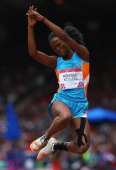 Deeann KentishRogers of Anguilla competes in the Women's Heptathlon Long Jump at Hampden Park during day seven of the Glasgow 2014 Commonwealth Games...