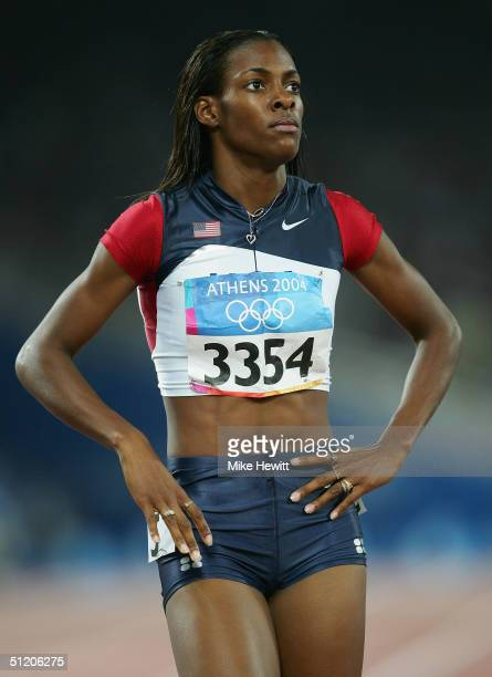 DeeDee Trotter of USA is seen after the women's 400 metre semifinal on August 22 2004 during the Athens 2004 Summer Olympic Games at the Olympic...