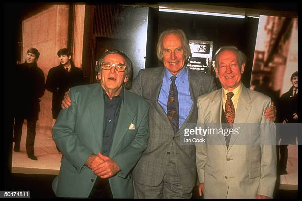 Deejay Brian Matthew produced George Martin deejay Alan Freeman standing outside the BBC's Maida Vale studios where the Beatles recorded