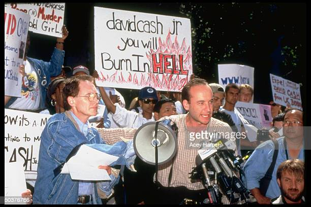 Deejays Doug Steckler Tim Conway Jr leading students at Berkeley in a protest against fellow student David Cash who did nothing as his best friend...