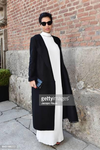 Deena Aljuhani Abdulaziz attends the Bottega Veneta show during Milan Fashion Week Fall/Winter 2017/18 on February 25 2017 in Milan Italy