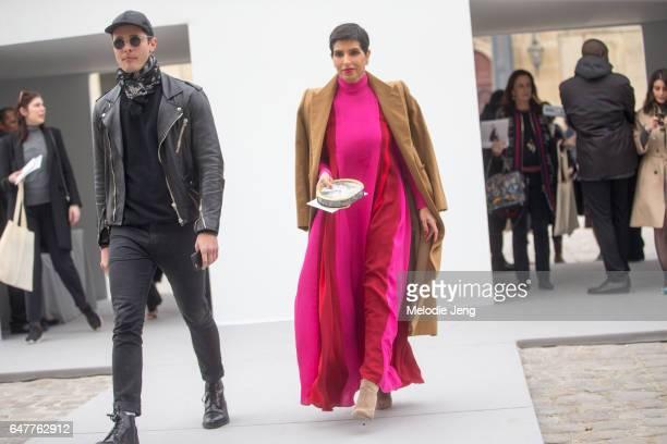 Deena Aljuhani Abdulaziz outside the Dior show on March 3 2017 in Paris France