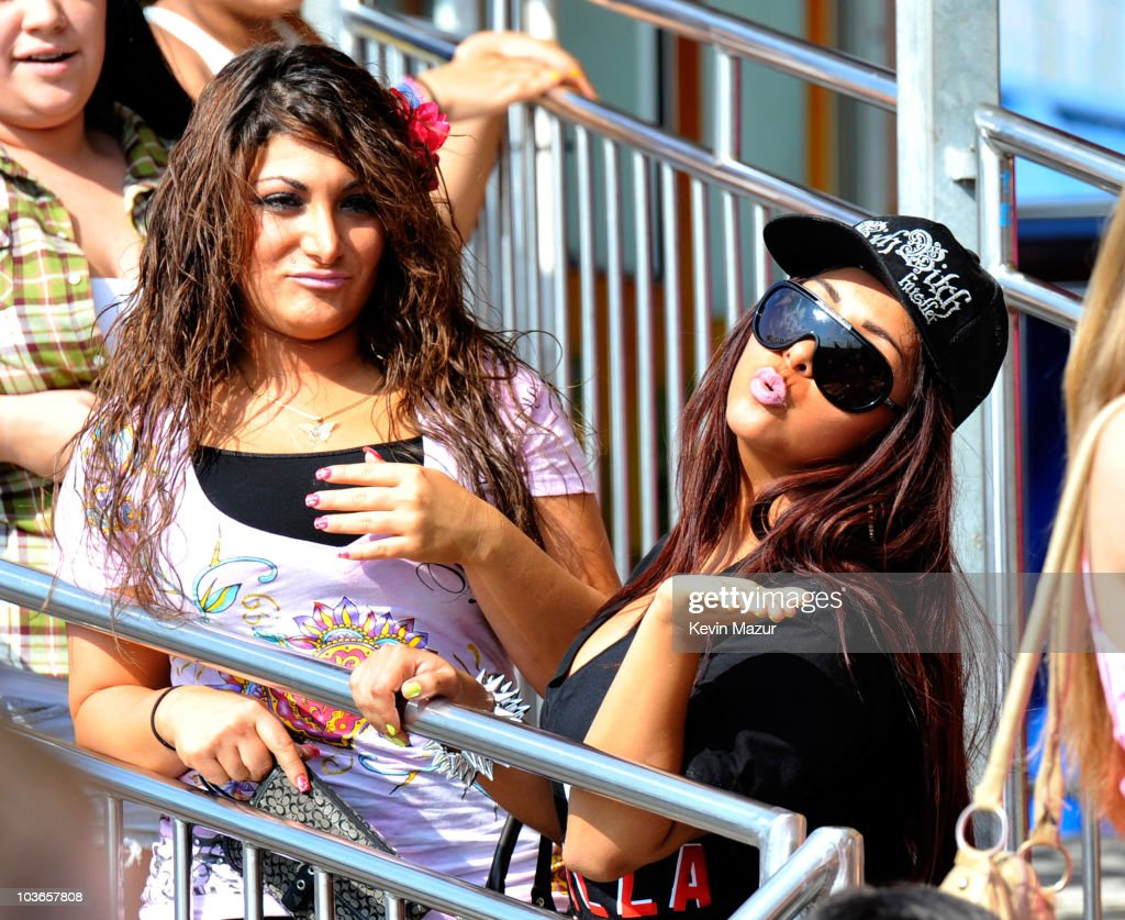 Deena Cortese and Nicole 'Snooki' Polizzi on location for 'Jersey Shore' on August 26 2010 in Seaside Heights New Jersey