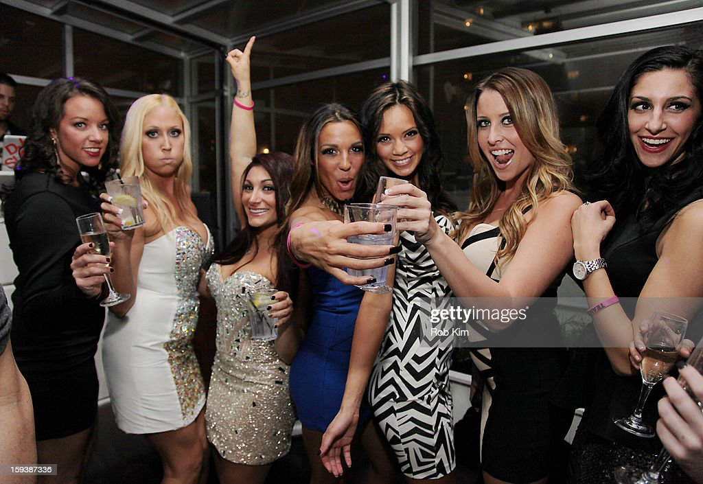 Deena Cortese (3rd left) attends her birthday celebration at Sky Room Times Square on January 12, 2013 in New York City.