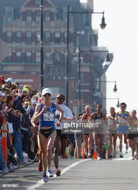 Deena Kastor runs over the Longfellow Bridge in the US Women's Olympic Marathon Trials April 20 2008 in Cambridge Massachusetts