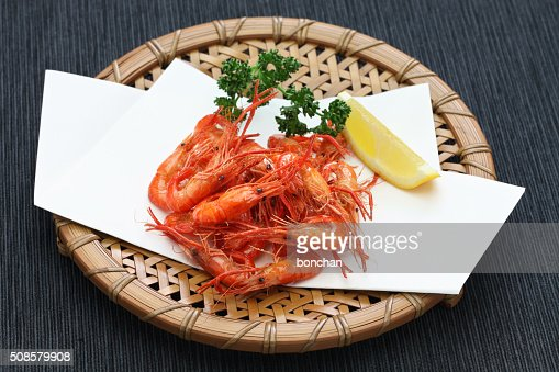 deep fried freshwater shrimp, japanese food : Stock Photo