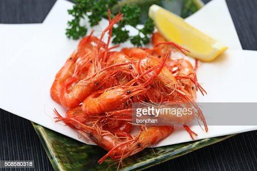 Frittierte Süßwasser-Shrimps, japanische Speisen : Stock-Foto
