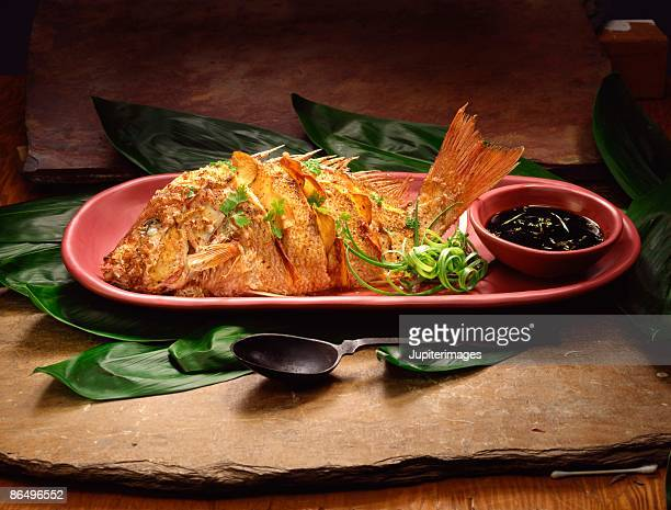 Deep fried red snapper entree