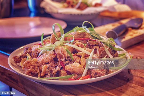 Deep Fried Squid with Chili and Spring Onions