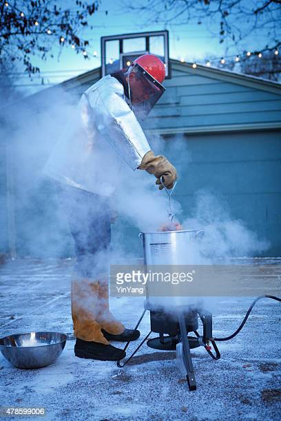 Deep Frying Turkey in Hot Oil for Christmas and Thanksgiving