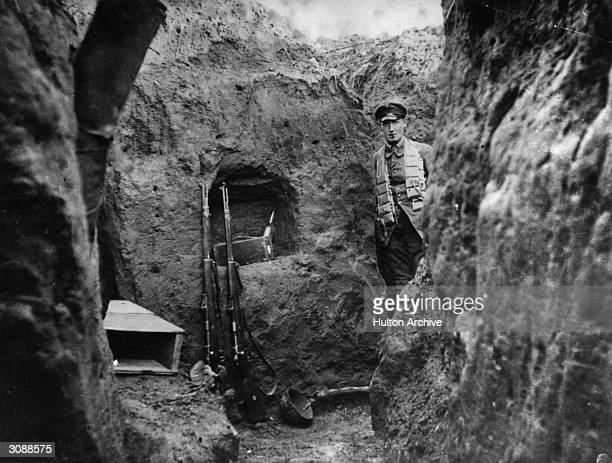 A deep German trench in WW I