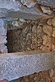 hole stone wall deep castel ruin old