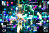Futuristic  Artificial Intelligence Circuitry Close Up illustration