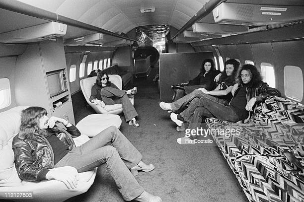 Jon Lord David Coverdale Glenn Hughes Ritchie Blackmore and Ian Paice English rock band relaxing in the band's Starship Jet plane 28 February 1974
